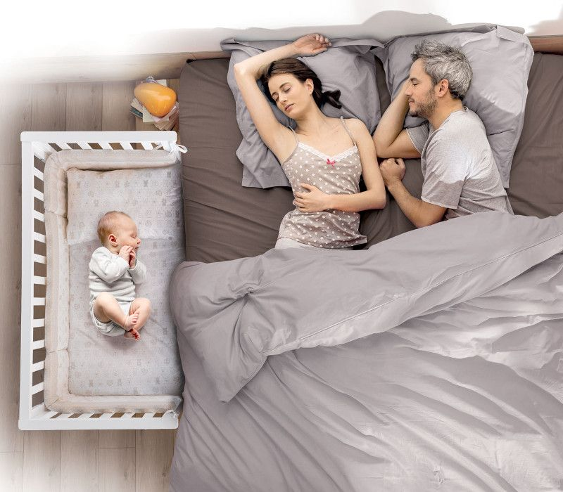 Lettino Contact accostato al letto matrimoniale, co-sleeping